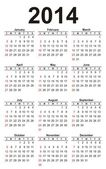 Calendar for the year 2014 the template of 12 months