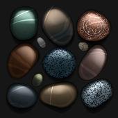 Kameny oblázková sbírka izolovaných na černém