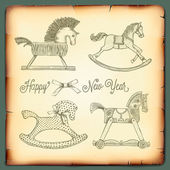New Year card with rocking toys horses vector Eps10 image