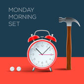 Sveglia vintage e martello, odio il lunedì mattina, immagine eps10 vettoriale