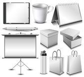 Identidad corporativa en blanco objeto conjunto