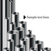 White Industrial text background with metallic pipe set