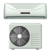 Air conditioner set with inside and outside version isolated on white