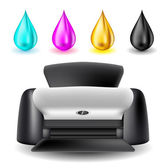 Printer with CMYK drops