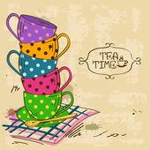 Ilustrace s hromadou čajové šálky