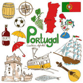 Fun colorful sketch collection of Portugal icons countries alphabet
