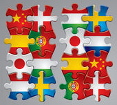 Vector set of puzzle flag icons 2