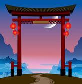 Immagine vettoriale del cancello cinese con luci rosse su una collina con un sentiero sullo sfondo del cielo con la luna e le montagne nella nebbia alba