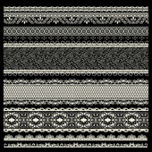 Vector set of lace trims isolated on light background