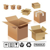 Different shape of cardboard boxes on white background Open and closed empty cardboard boxes