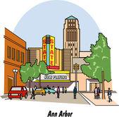 Ann Arbor Michigan street scene on a white background