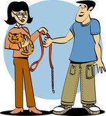 Frau Übergabe ihre Kitty Katzen Halsband und Leine an einen Haustiersitter
