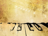 Grunge music background - vintage piano and music notes