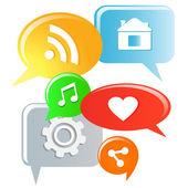 Social media symbols on speech bubbles Vector illustration