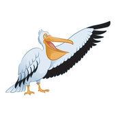 Vector image of an cartoon showing Pelican