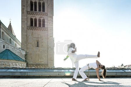 Постер, плакат: Capoeira performers doing kicking, холст на подрамнике
