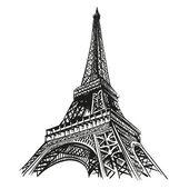 Torre Eiffel disegnata a mano. Parigi, illustrazione vettoriale
