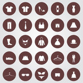 Set of 25 Clothes icons in the brown circles
