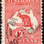 Постер, плакат: Postage stamp showing the map of Australia and the image of a ka