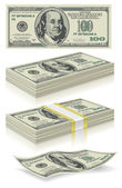 Collection of dollar bills in the package and without vector editable