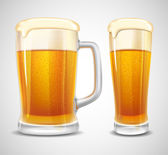 Beer in glass and mug Realistic vector