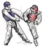Taekwon-do. kézzel rajzolt (kalligrafikus és grunge) vektor