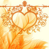 Vintage valentine background with wrought heart frame