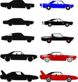 Cars from the sixties and seventies over white with silhouettes set