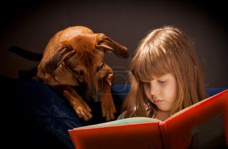 Child and dog,