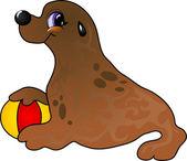 Cartoon sea lion with ball Vector illustration