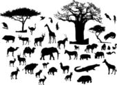 Silhouettes of African animals as a vector illustration