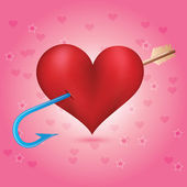 Cupid's arrow strikes to the heart Arrow with a hook at the end Background with hearts Valentine's day card
