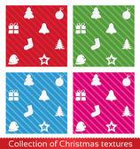 Seamless christmas texture pattern Vector set collection Christmas tree star hat sock ball gift