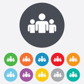 Group of people sign icon Share symbol Round colourful 11 buttons Vector