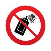 Nessun spray graffiti può firmare icona. simbolo di vernice aerosol. segno rosso di divieto. simbolo di stop. Vector