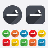 Smoking sign icon Cigarette symbol Circles and rounded squares 12 buttons Vector