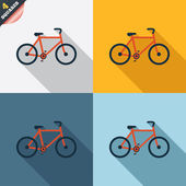 Bicycle sign icon Eco delivery Family vehicle symbol Four squares Colored Flat design buttons Vector