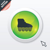 Roller skates sign icon Rollerblades symbol Green shiny button Modern UI website button with mouse cursor pointer Vector