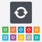 Rotation icon Repeat symbol Refresh sign Rounded squares 11 buttons Vector