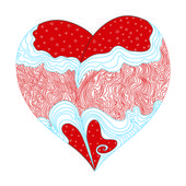 Abstract vector red hand draw heart on white background