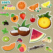 Set of stickers mix of various fruits with written background aged transparency blending effects and gradient mesh Eps 10