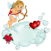 Cupid piercing two hearts above the clouds-transparency blending effects and gradient mesh-EPS
