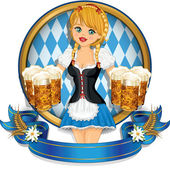 Waitress Bavaria wit beer mugs decorated-multiple levels-transparency blending effects and gradient mesh-EPS 10