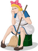 Vector illustration of a tired cleaning lady sitting on a bucket