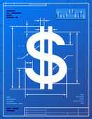Stylized drawing of money symbol on blueprint paper Qualitative vector (EPS-10) illustration for banking financial industry economy accounting etc It has only gradients