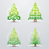 Set of original vector christmas trees Qualitative vector (EPS-10) design elements for new year's day christmas winter holiday new year's eve silvester etc It has transparent elements blending modes gradients