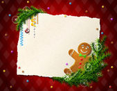 Cookie pine branches and blank paper on checkered background Qualitative vector (EPS-10) illustration for new year's day christmas winter holiday new year's eve silvester etc It has transparency masks blending modes gradients