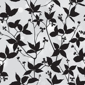 Branch and leaf silhouette seamless background Floral vector pattern