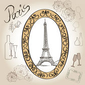 Paris eiffel tower Paris symbol hand drawn picture in frame with design elements vector set Love paris vintage frame illustration collection Scrapbooking hand drawing vector kit