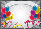 Grey birthday background with baloons and gifts
